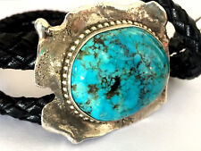 Native American Sterling 925 Blue Turquoise Navajo Handmade Bolo Tie Tufa Cast