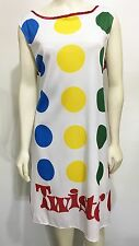 Twister Game Sleeveless Dress Knee-Length One Size Tie-Back Colored Dots Costume