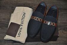 Authentic New Louis Vuitton HOCKENHEIM Blue Denim Car Shoe,LV10/US11