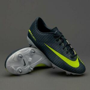 New Boys Kids Nike Mercurial Vapor CR7 Football BOOTS Grey Silver UK Size 3