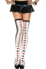 UK Seller Black & White Poker Card Overknee Stockings Thigh Highs Socks