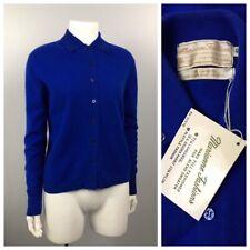 1960s Blue Sweater Top / Nos Button Up Wool Angora Wool Cardigan / Medium