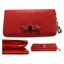 PORTEMONNAIE NEU Rot Damen Zierschleife Große Geldbörse Clutch-Tasche Portemonee