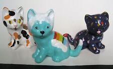 Cat Kitten Kitschy Figurine Rainbow Spots Calico Handmade Art Pottery Ooak