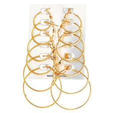 2017 New Women's Large Circle Round Plain Hoop Dangle Sleeper Hinged Earrings