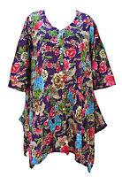 Hippie Pocket Lagenlook Tunic Top Dress Boho Beach Kaftan Size 16 18 20 22