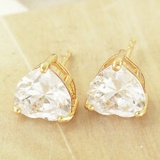 yellow Gold Filled clear Crystal Heart small Ear Stud Earrings Fashion womens