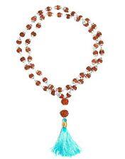 Rudraksha 5 Mukhi Japa Mala Rosary with Silver Cap 54+1 Count