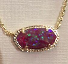Kendra Scott Kyocera fuchsia Opal Elisa & Gold Necklace Pink Nwt Htf +bag