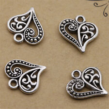 30pcs Antique Silver Alloy Hollow Heart Charms Pendants Findings Crafts DIY
