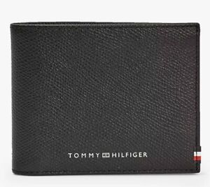 Tommy Hilfiger TH Business credit card Slim Mini Wallet Textured black Leather