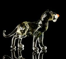 "Black Brown Tiger Figurine Blown Glass ""Murano"" Art Animal Wild Sculpture"