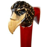 Hawk Head Wooden Cane Walking Stick Handle Handmade Hand Carved Support Caness