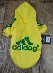 Adidog (Adidas) Dog/ Pet Hoodie,YELLOW Size Small, Fits Smaller Breeds-PAW WAG