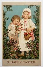 Marie Flatscher EASTER CHILDREN Bring Bouquets of Flowers Postcard EMB