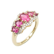 Tourmaline Real Diamonds 14K SOLID GOLD Ring Size 5.75 Authenticity Certificate