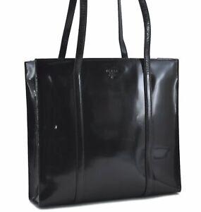 Authentic PRADA Enamel Shoulder Tote Bag Black D7407
