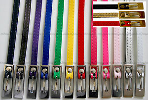 Ladies Girls PVC Ultra Thin Narrow Skinny Patent Look Fashion Belt
