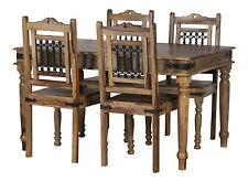 Jali Dining Table Set 4 Chairs in Solid Sheesham Rosewood