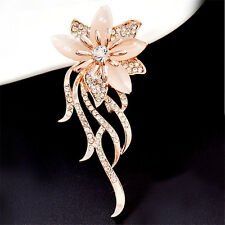 Elegant Charm Opal Crystal Wedding Bridal Rose Gold Flower Brooch Pin Gift New