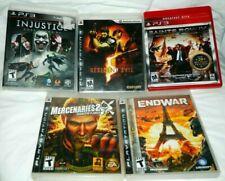 PS3 Lot of 5 Video Games Injustice, Resident Evil 5, Mercenaries 2, Saints Row 4