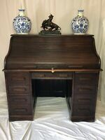 Rare Original Globe Wernicke Co Ltd London Antique Pedestal Oak Roll Top Desk