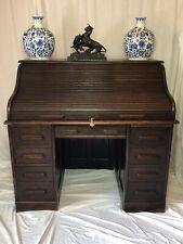 Original Globe Wernicke Co Ltd London Antique Pedestal Oak Roll Top Office Desk