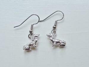 Dog Charm Earrings Dachshund dachsund silver pewter dangle USA made nickel-free