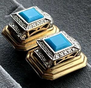 14K Yellow Gold Blue Turquoise Diamond Halo Architectural Vintage Earrings