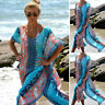 Women Short Sleeve Floral Loose Bikini Cover Up Beach Casual Tunic Dress Chiffon