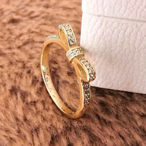 Authentic 925 Sterling Silver Timeless Gold Classic Bow Ring NEW 100%