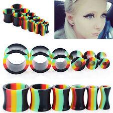12 pcs Rainbow Acrylic Flare Tunnels Ear Expander Plugs Stretch Gauges Punk New