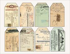 8 Ephemera Vintage Script Receipt Hang Tags Scrapbooking Paper Crafts (378)