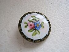 ANTIQUE HAND PAINTED ENAMEL BUTTON WITH ROSE AND BLUE FLOWER MOTIF