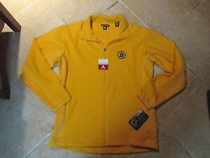 "BOSTON BRUINS ""ANTIGUA"" FULL ZIP JACKET (MD) NWT SEWN ON WARM COZY MATERIAL GOLD"