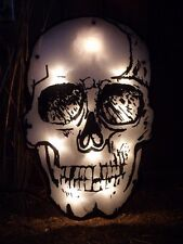 HALLOWEEN HAUNTED HOUSE SHIMMERING LIGHTED SKULL WINDOW YARD PARTY SIGN PROP NEW
