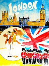 Impresión Cartel Viajes Turismo Londres Inglaterra Guardia Drury Lane Parlamento nofl1209