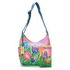 Anuschka Hand-Painted Leather Studded Shoulder Bag Optical Case Turkish Tulips