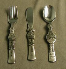 3 Vintage Gorham Sesame Street Fork, Spoon & Knife - Ernie, Bert, Big Bird b tst