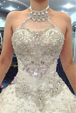 Crystal White/Ivory Wedding Dress Bridal Ball Gown Custom Size 6 8 10 12 14 16 +