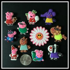 SET of 11 Shoe Charms for Crocs PEPPA PIG George Pedro Cat Zoe Smile Flower
