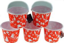 Set Of 5 Christmas Loot Sweet Buckets With Lid For Party - Red / White