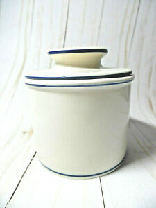 Butter Bell Crock By L.Tremain  Off White Blue Stripe original
