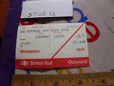 Train RR Ticket Stub Pass British Railway Rail Epsom Wimbledon board card