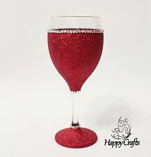 Glitter Sparkle Top & Base Wine Glass Red