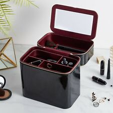 Beautify Black Faux Patent Leather Make Up Beauty Vanity Travel Carry Case Box