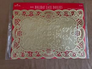 Hallmark gold lace Paper Doilies new package of 6 table setting ware holiday