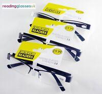 3 x PAIRS PACK +3.0 READING GLASSES Semi Rimless Gun Metal RRP£29.97 Only £9.99!