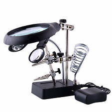 Helping Hand Magnifier W/ 2 Alligator Clamps LED Lighted Soldering Kit 3rd Hand