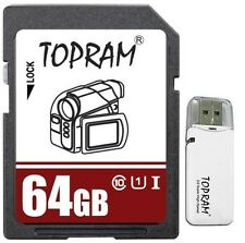 TOPRAM 64GB 64G SDXC SD Class 10 UHS-I UHS Flash Ultra Speed Card +RV33 USB 3.0